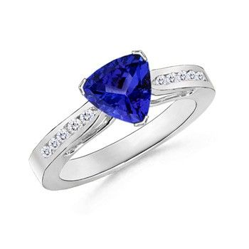 Angara Diamond Framed Tanzanite Cathedral Wedding Ring in 14k Yellow Gold RIWLHsnD