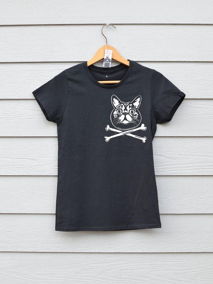 Cat Crossbones Tee, By Ben Prints On Etsy