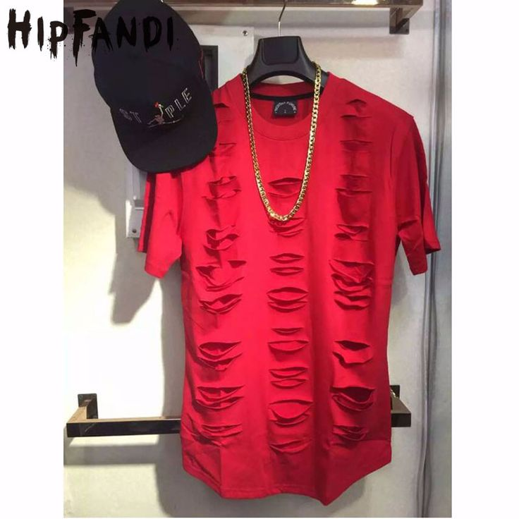 HIPFANDI High Ouality Hip Hop Streetwear Destroyed Hole Extended T shirt  Sudaderas Hombre Tee Swag Men's Clothing  Hba Pyrex #Affiliate