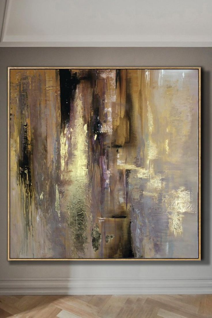 Large acrylic painting abstract painting brown gold paint texture abstract art original painting