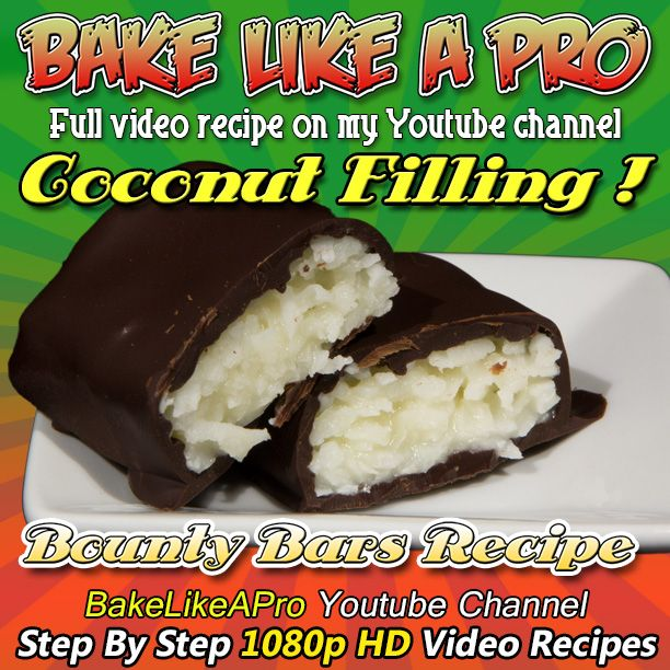 """Please SUBSCRIBE: http://bit.ly/1ucapVH Homemade Bounty bars recipe !  This candy bar is also sold under the name """"Mounds"""" and """"Almond Joy""""  This is a coconut based candy bar, that is super delicious ! Only 3 ingredients ! - Shredded coconut, sweetened condensed milk and chocolate  Please subscribe, like and share if you can, I do appreciate it.  My Facebook Page: http://www.facebook.com/BakeLikeAPro  #recipe #dessert #chocolate #baking #chef #love #foodpics #photooftheday #foodies #cake…"""