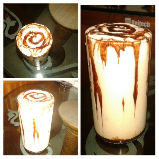 Cold coffee with chocolate sauce.. #coldcoffee