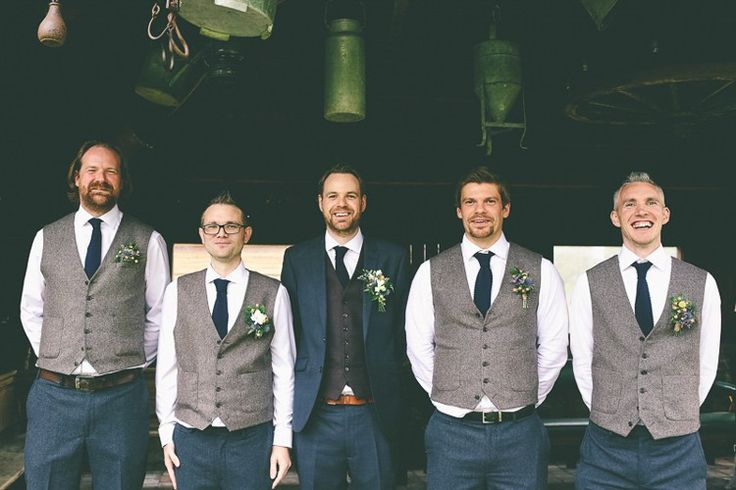Tweed Navy Suit Waistcoats Groom Groomsmen Natural Meaningful Sweet Colourful Barn Wedding http://www.emmaboileau.co.uk/