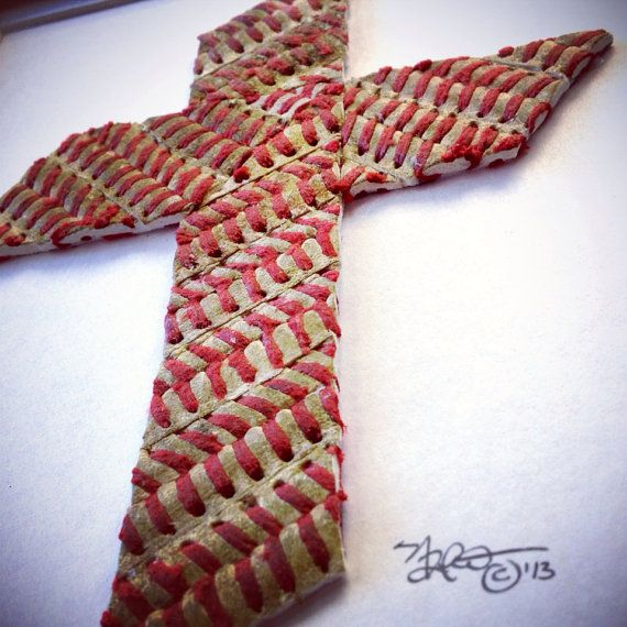 Baseball Seams Stitches Cross w/ Custom Bible Verse - Made with Actual Used Baseballs on Etsy, $60.00