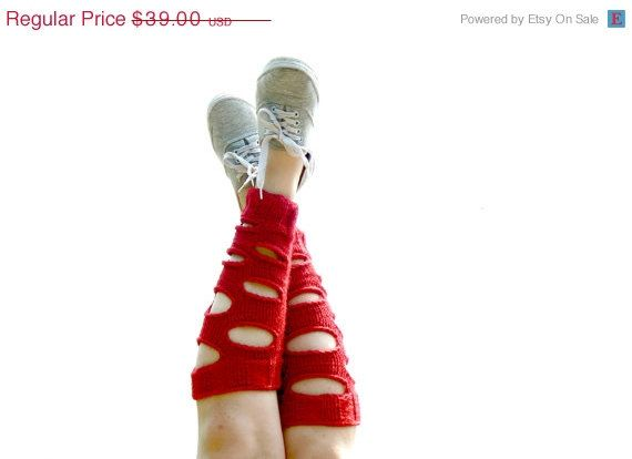 Berry Red Boot Cuffs with Lace Women legwarmers. by EmofoFashion