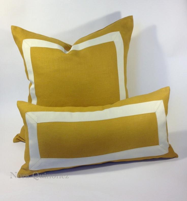 10x20 (25x51 cm) Citron Linen Pillow Cover with Off White Grosgrain Ribbon. $55.00, via Etsy.