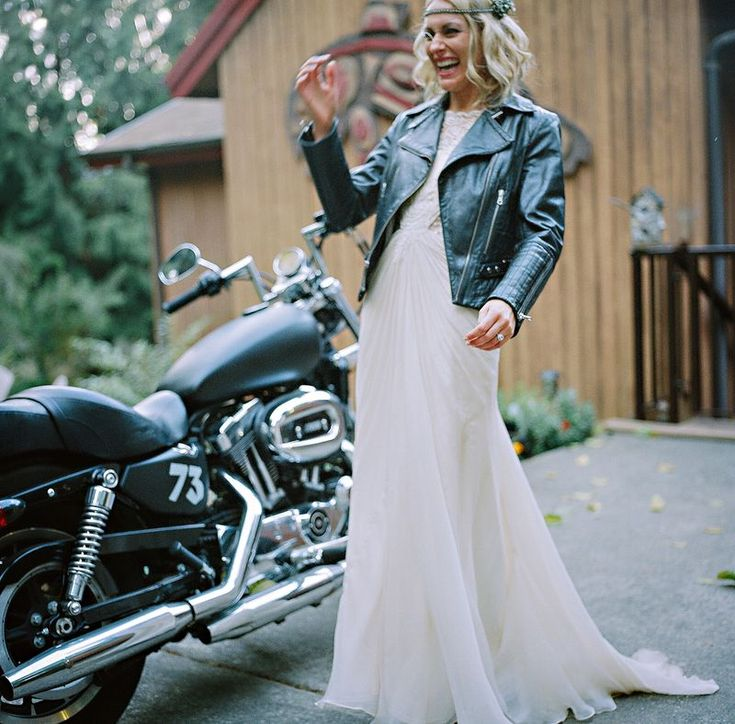 My Wedding 21: The Motorcycle RideMotorcycles Wedding Pictures, Wedding Styles, Black Biker Jackets, Wedding Photos, Lucky Magazines, Motorcycles Riding, Leather Jackets, Moto Brides, Wedding Pins