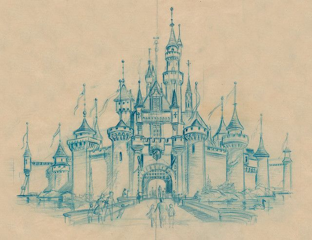 Sleeping Beauty Castle Sketch, 1955 | Scan from Kevin Kidney - http://www.flickr.com/people/miehana/