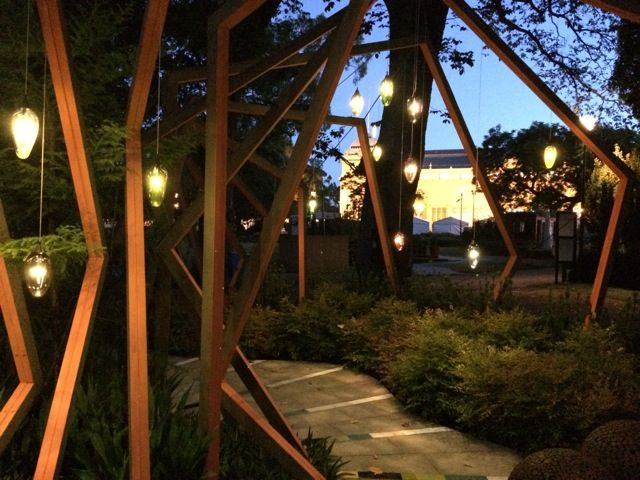 We designed the lighting scheme using our Drape pendant in a range of colours and sizes.  A big congratulations to everyone involved as 'The Garden Cornucopia' won Silver Show Garden award.