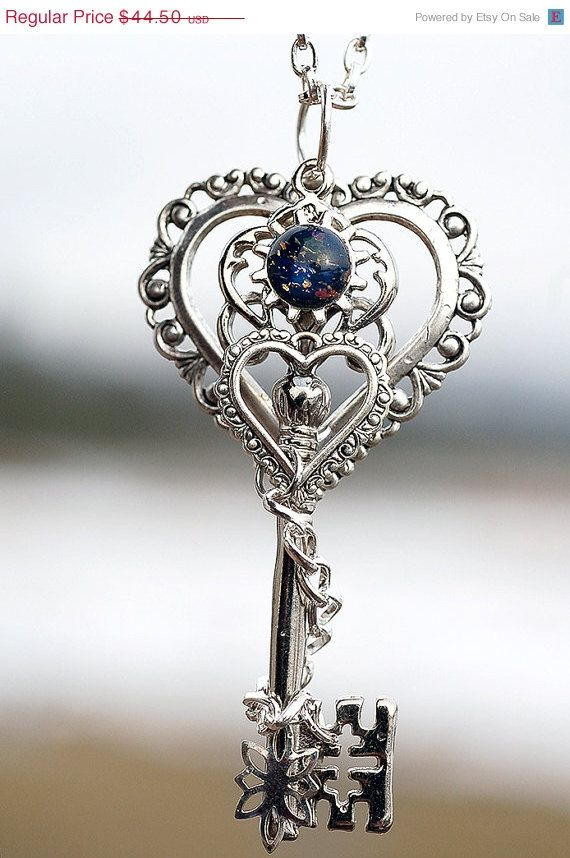 V-Day Sale You Are My World Key Necklace  Silver by KeypersCove