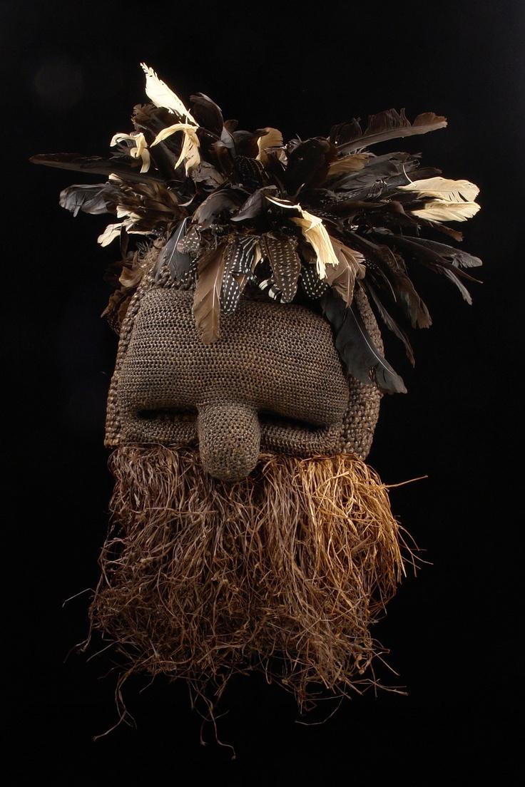 "Africa | Mask ""idangani"" from the Salampasu people of DR Congo | Raffia, palnt fiber, feathers and wood"