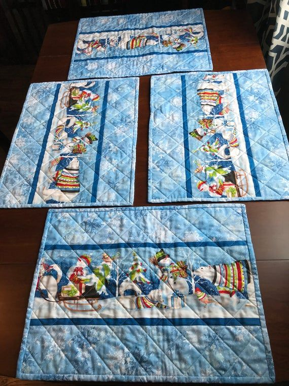 Winter Quilted Set Of 4 Placemats Etsy Winter Quilts Quilted Table Runners Christmas Scrappy Quilt Patterns