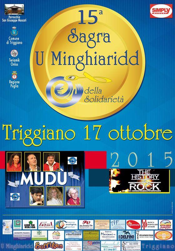 """#Sagra """"U Minghiaridd della solidarietà"""", la 15^ Edizione sabato 17 ottobre 2015 a #Triggiano (Ba)"""