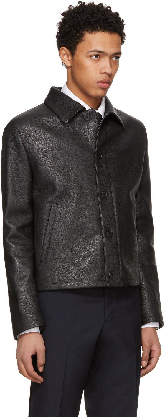 Thom Browne - Black Leather Stripe Golf Jacket