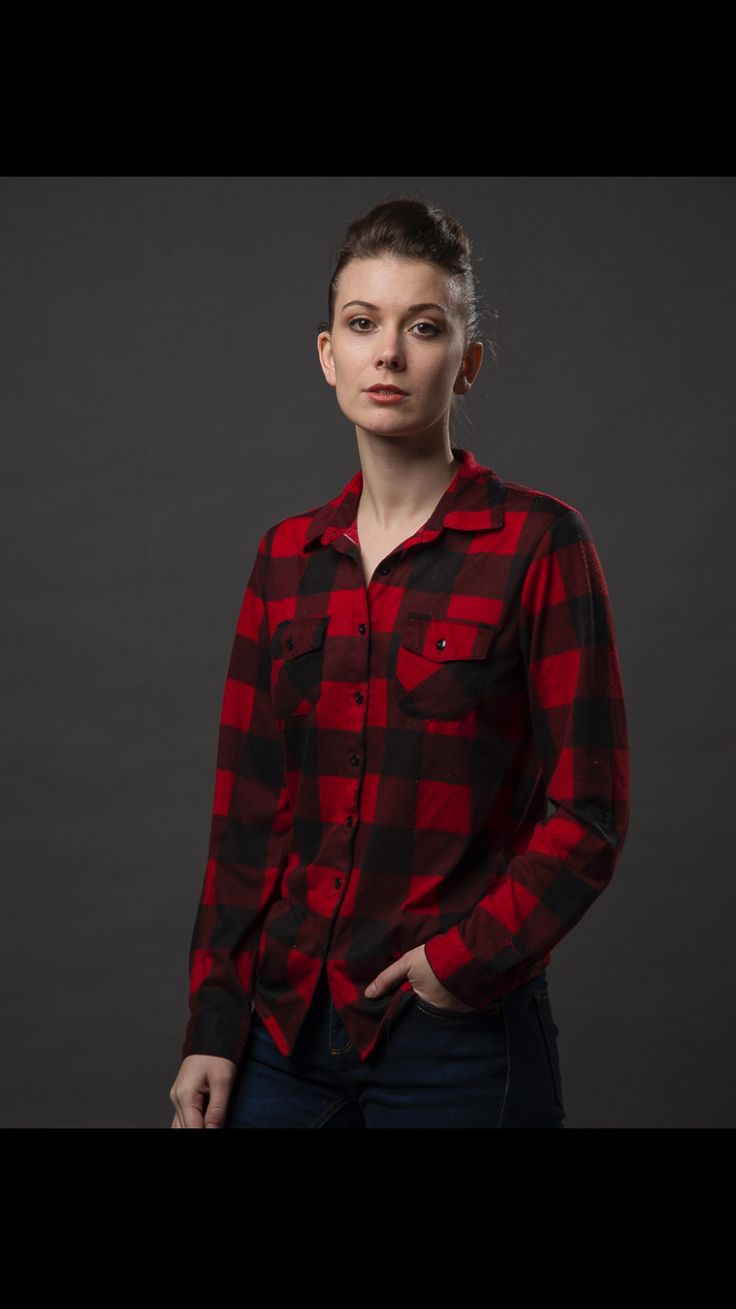 red and black plaid collared shirt
