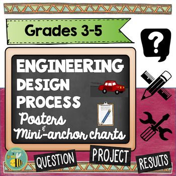 This resource includes 6 posters about the engineering design process + differentiated mini-anchor-charts that will fit in your students' science notebooks.These posters and mini-anchor charts are perfect for grades 3-5.  Please take the time to look at the preview to have an idea of what is included.