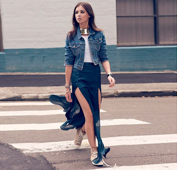 Street Style Saia Longa Fenda
