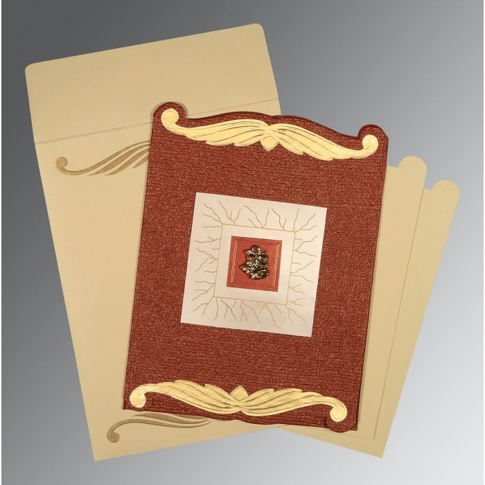 how to write muslim wedding invitation card%0A Red handmade cotton embossed wedding invitations   c