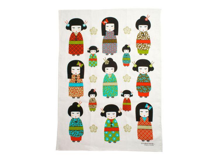 Kimono Doll Geisha Japan Super Absorbent Linen Tea Towel