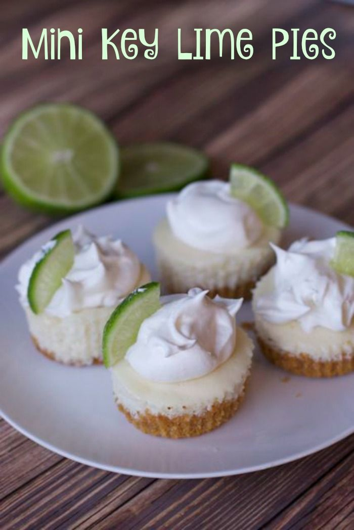Mini Key Lime pie are perfectly sized desserts and low fat.  Filled with key lime juice it is the perfect recipe to make you think of summer. #Keylime #minidessert