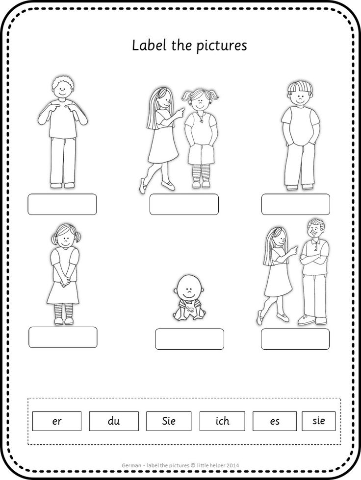 German worksheets - label the pictures.This set covers all major topics from adjectives to weather. Download the preview for more information.