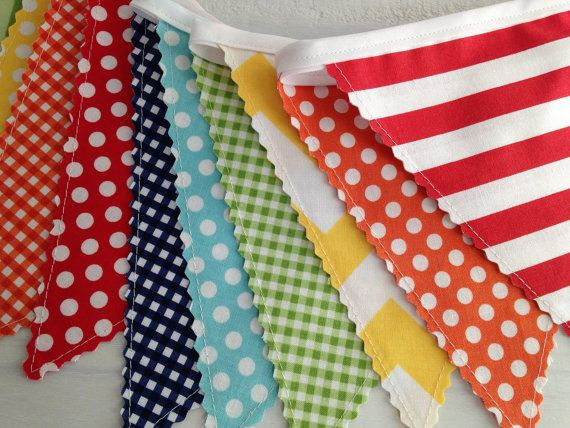 Birthday Party Decoration, Fabric Banner Flags, Photography Prop - Rainbow, Colorful, Red, Yellow, Navy Blue, Aqua Blue, Chevron, Dots