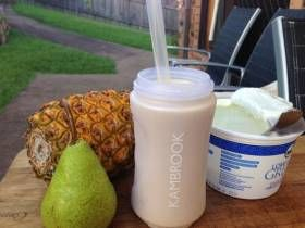 INGREDIENTS 1/4 cup frozen mango 1/4 cup pineapple pieces 1/2 cup pear 1/3 cup Greek yoghurt Almond milk to fill small personal blending jug DIRECTIONS Place the mango, pineapple, pear, yoghurt, and almond milk into the small personal blending jug; securely seal the blade assembly inside the blending jug. Lock the blending jug onto the motor base b...