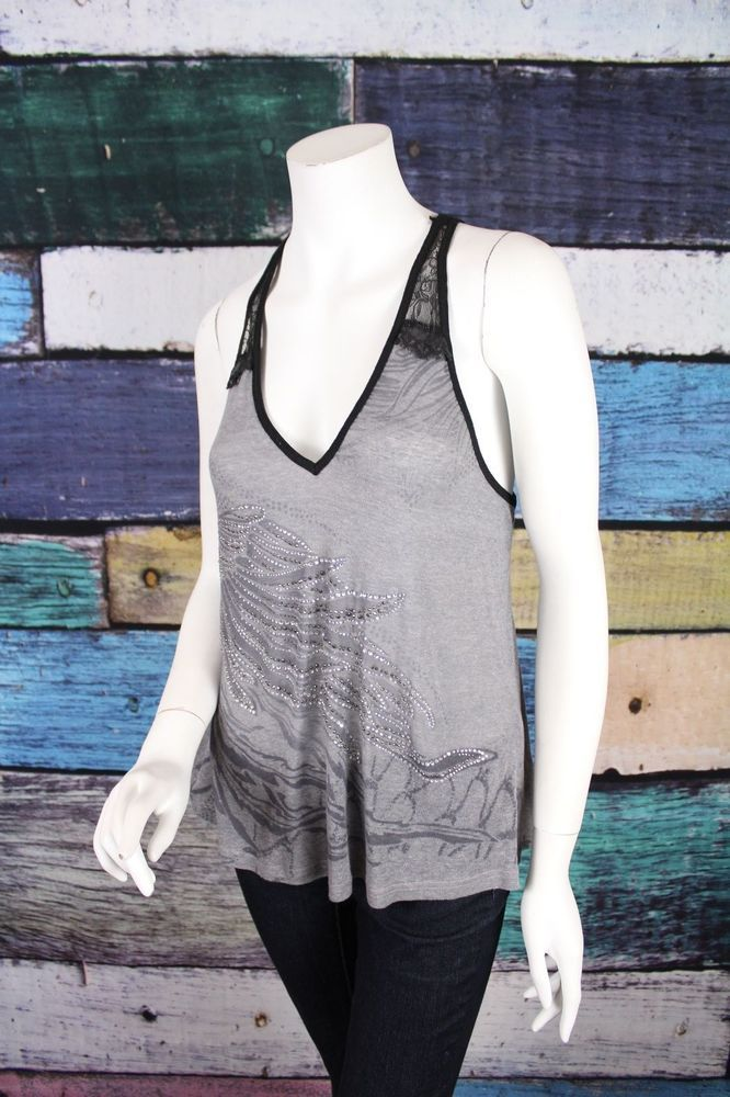 282fe02e236 Miss Me The Buckle Gray Black Lace Trim Feather Embellished Tank Top SMALL  S  MissMe  TankCami  Casual