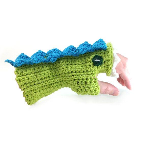 Crocheted Dragon Mitt Pattern - monster bike gloves?