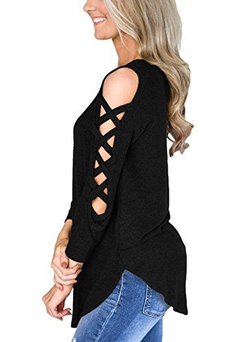 6baf242f52efbd HOTAPEI Womens Long Sleeve Criss Cross Cut Out Sleeves Tops and Blouses  Casual Loose T Shirts #tops #tees #fashion #tshirts #tunictop #womens