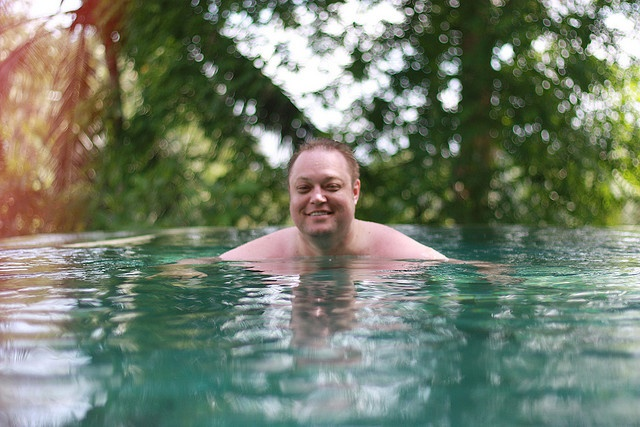 Mike swimming in our private pool at Kamandalu  #holiday #ubud #bali