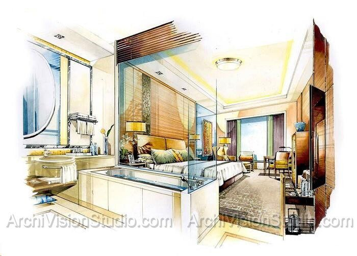 Interior Design Watercolor Rendering