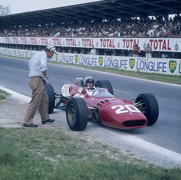 lorenzo bandini in a ferrari 312 french grand prix reims france 1966 at the edge of the race. Black Bedroom Furniture Sets. Home Design Ideas