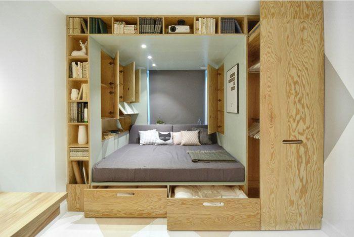 Интегрированная кровать, шифоньер и книжный шкаф