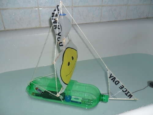 Sailboat from a plastic bottle. Need to try it.