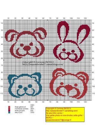 Bébé - baby - animaux - point de croix - cross stitch - Blog : http://broderiemimie44.canalblog.com/