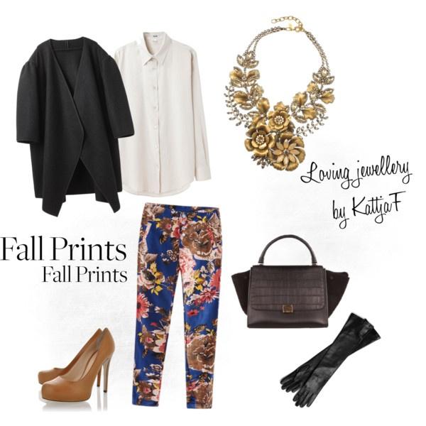 """Floral necklace and floral pants"" by kattjaf on Polyvore"