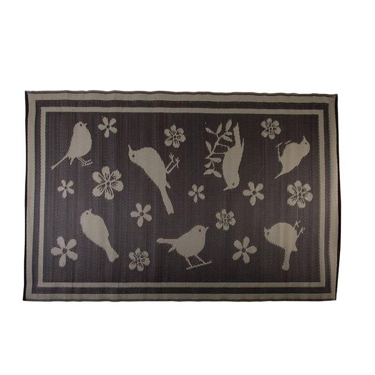 Buitenkleed vogels in taupe/grijs Esschert design | TUINTAPIJTEN & VLOERKLEDEN | voorstijl