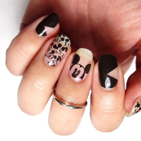 Mickey Mouse negative space nail art