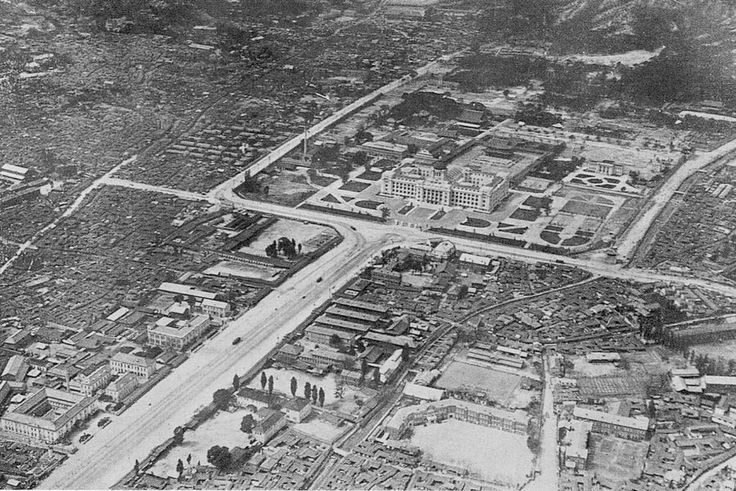 Keijo (Seoul): Aerial view of the Government-General Building at the end of Kokamon-dori (Sejong-ro)