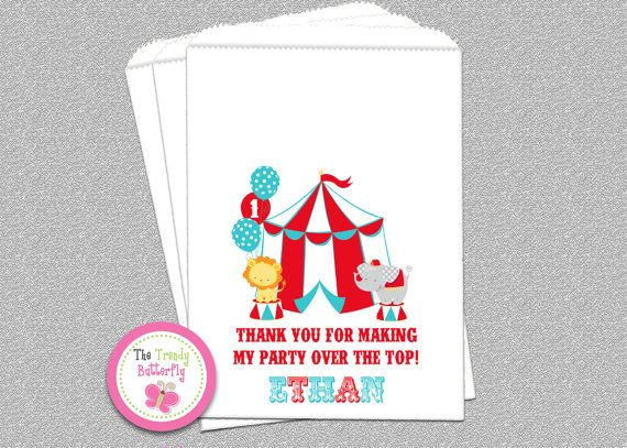 Carnival Circus Birthday Party Candy Bags Circus Party Favor The Trendy Butterfly