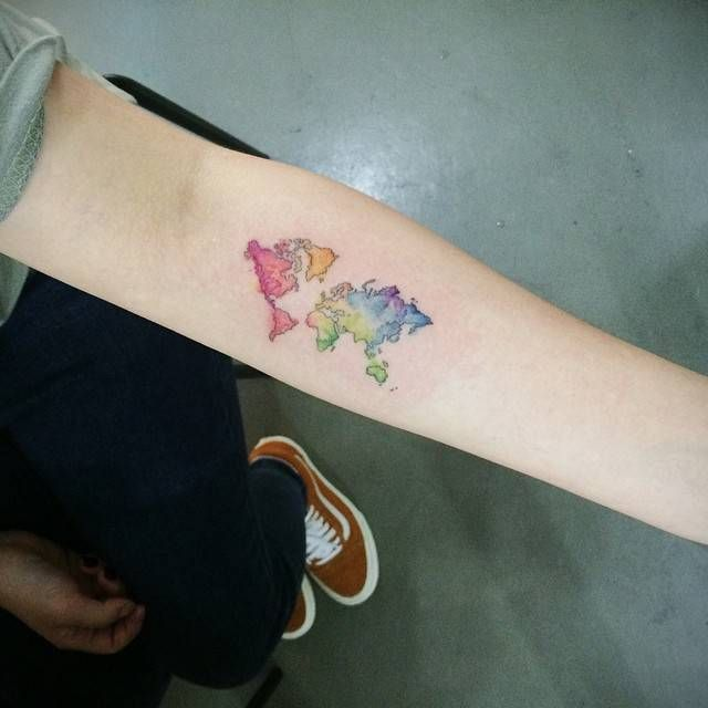 13 best map tattoo images on pinterest little tattoos map tattoos watercolor style world map tattoo on the left inner forearm tattoo artist doy gumiabroncs Gallery