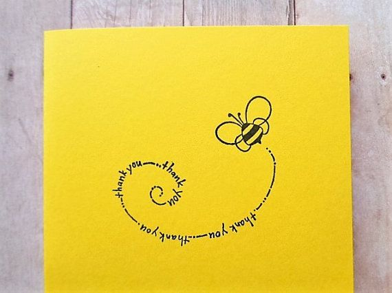 This adorable set of 8 bumble bee thank you cards are sure to brighten someones day! Each one is hand stamped on bright yellow cardstock. They