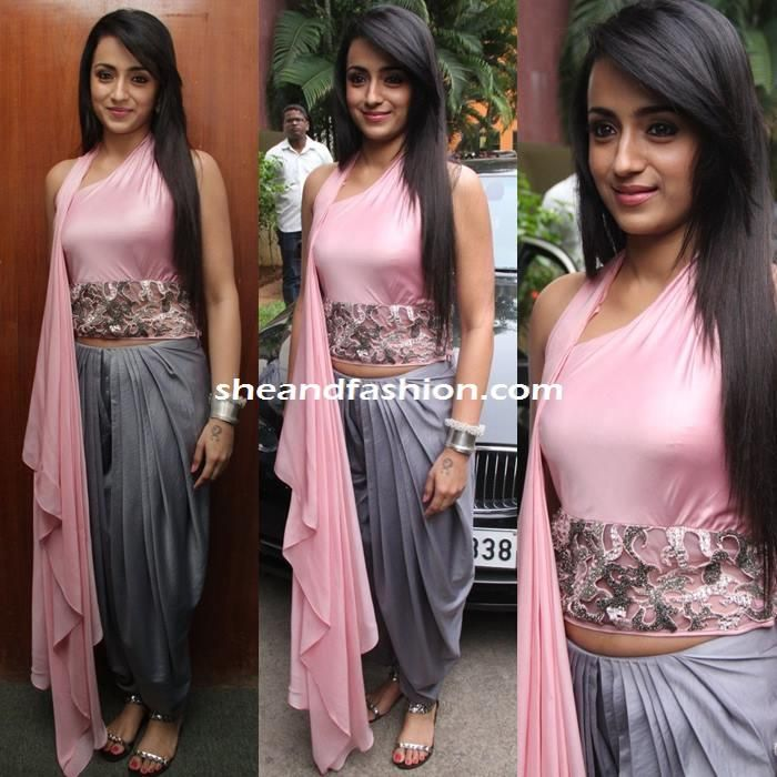 Trisha in Babita Malkani outfit at Sakalakala Vallvan Press Meet