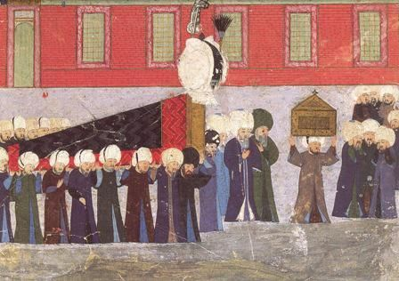 The burial of Sultan Süleyman, from the Süleymannâme, 1579-89 (detail), Chester Beatty Library, Dublin, MS.T.413, folio 115b. [shows typical colors worn in 16 c. Ottoman Empire for mourning. Rich people generally avoided these when not in mourning. The poor could not afford some colors and did wear dark and dull blues]