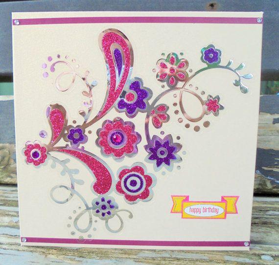 Pink and Purple  handmade card birthday card by RogueKissedCraft