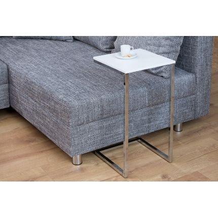 Odkládací stolek Prost 60cm bílá-stříbrná