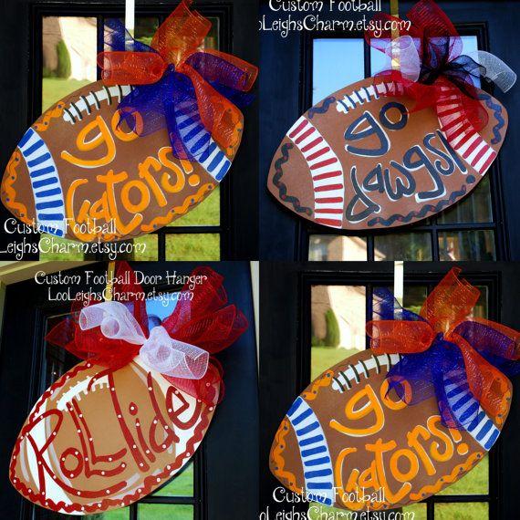 Football Door Hanger, Custom Football Door Hanger, Personalized Show your school spirit!! Any school! Any colors! Any personalization! Go Team
