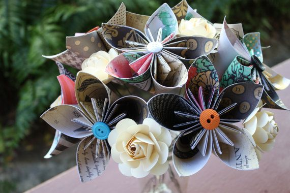 Paper Flowers - Handmade Vintage Themed Kusudama Flowers with Ivory Rose accents