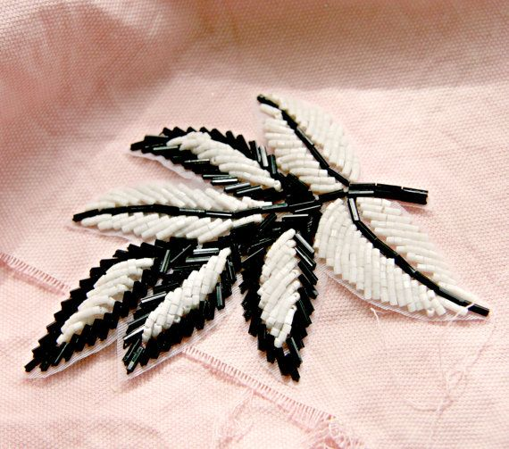 Black and white beaded applique in the shape of a large leaf -- fabulous, and available in other colors!